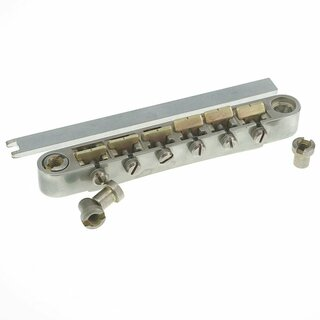 ABRL-59BA        	ABR-59 No Wire Vintage Spec Bridge, pat. pend. Locking System: Nickel plated, brass saddles, aged