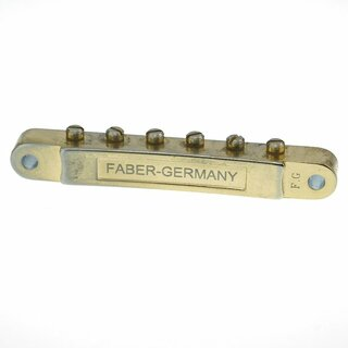 ABRM-59GA        	ABR-59 No Wire Vintage Spec Bridge, fits  4mm studs, Gold plated, brass saddles, aged