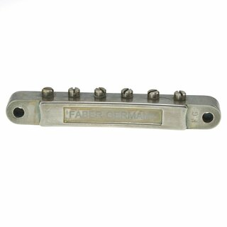 ABRM-59BA        	ABR-59 No Wire Vintage Spec Bridge,fits  4mm studs, Nickel plated, brass saddles, aged